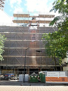 Steel structure of the tower is placed